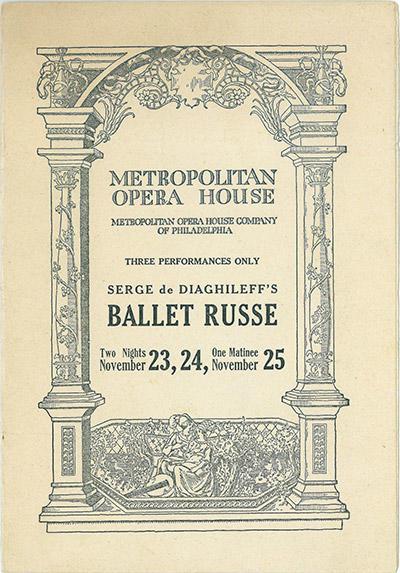 <アメリカ巡業、フィラデルフィア・メトロポリタン歌劇場のハウス・プログラム>