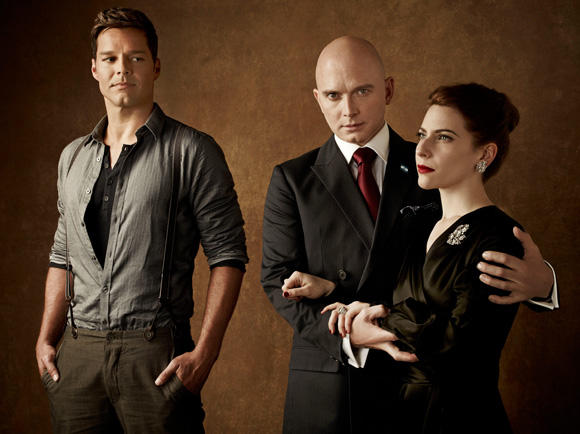 Ricky Martin, Michael Cerveris and Elena Roger. Photo credit Frank Ockenfels, Jewelry by Fred Leighton