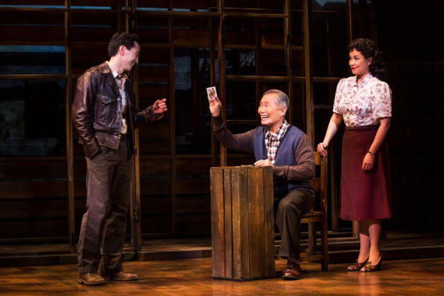 "Michael K. Lee, George Takei and Lea Salonga in a scene from ""Allegiance""  (c) Matthew Murphy"