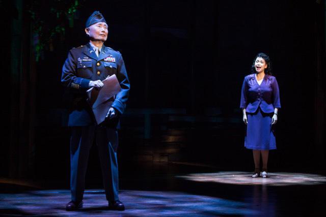 "George Takei and Lea Salonga in a scene from ""Allegiance"" (c) Matthew Murphy"