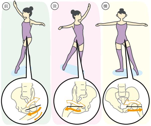 大腿骨頭の球の回転方向