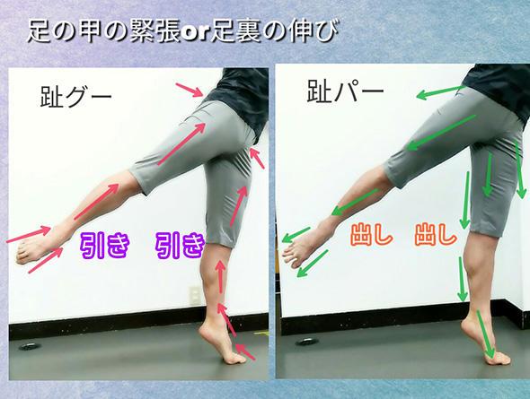 足の甲の緊張or足裏の伸び