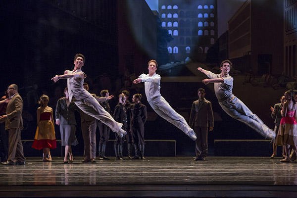 The Joffrey Ballet's Yoshihisa Arai, Rory Hohenstein and Alberto Velazquez  in Romeo & Juliet. Photo by Cheryl Mann