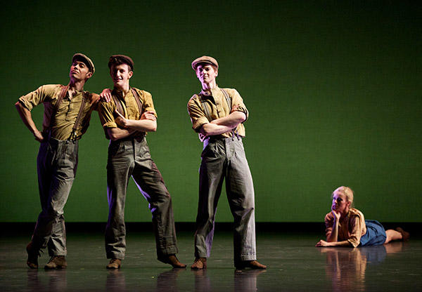 Christopher Harrison, Thomas Edwards, Andrew Peasgood and Eve Mutso in Christopher Bruce's Ten Poems     Photo by Andy Ross