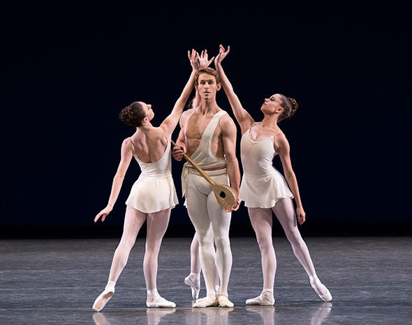 Adrian Danchig-Waring, Tiler Peck, and Ashly Isaacs in George Balanchine's Apollo Photo by Paul Kolnik