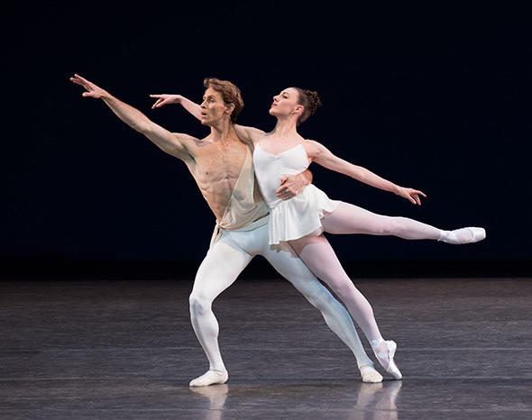 Adrian Danchig-Waring and Tiler Peck in George Balanchine's Apollo Photo by Paul Kolnik